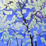 tree flowers painting image drawing