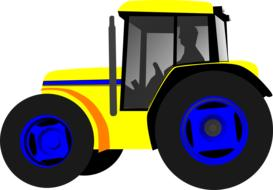 man driving yellow tractor, drawing