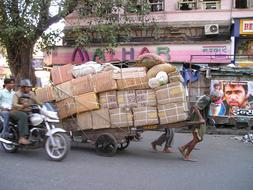 Mumbai street man transport