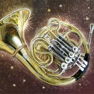 shining french horn, drawing