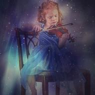 magical image of a girl playing the violin