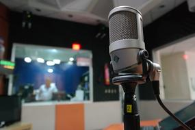 microphone in recording studio with blurred background