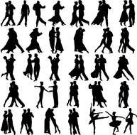 dancing people, set of silhouettes