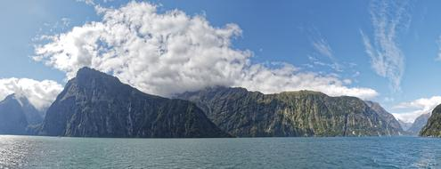 panorama of Milford Bay in New Zealand