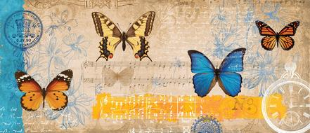 painted butterflies and musical notes on a postage stamp