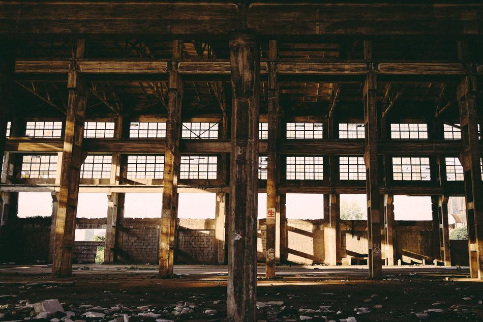 abandoned factory in sun lights