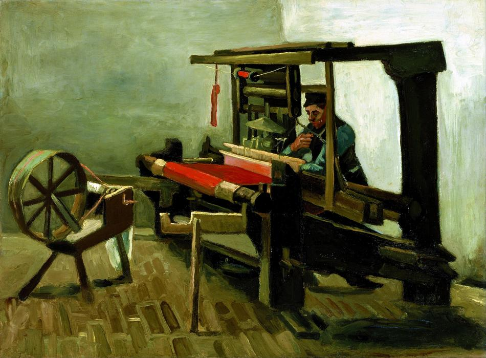 Post impressionism art with the worker with machine