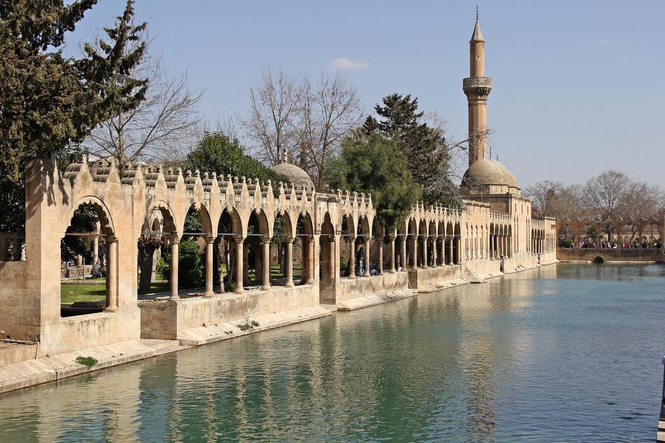 mosque on shore of Balıklı göl, holy lake, turkey, urfa