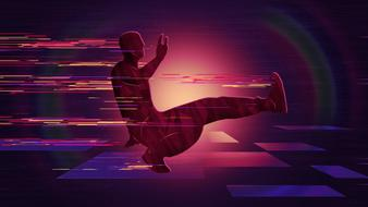 break dance in colorful background
