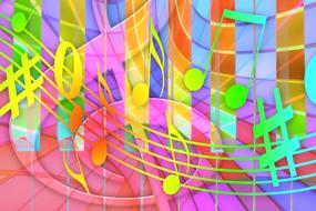 music, colorful background, clef and notes