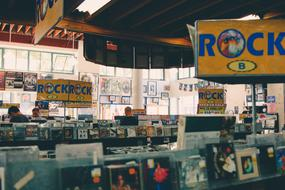 music Records on stalls in Store