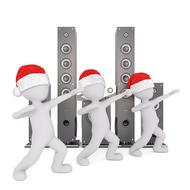 painted white men in Christmas caps on the background of music speakers