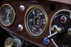 dashboard of an old retro car