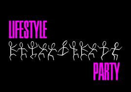 Lifestyle party, black banner with dancing stickmen