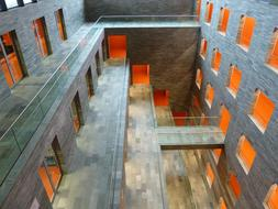 low angle view of walls in interior of Institute for Sound and Vision, Netherlands, Hilversum