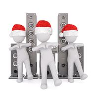 white male persons in santa hats dancing in front of speakers, 3d render