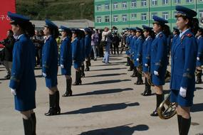Women in form on the parade in North Korea