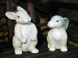 two white Rabbits, clay Figurines