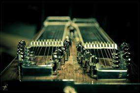Close-up of the steel-guitar with the twenty strings, among the darkness