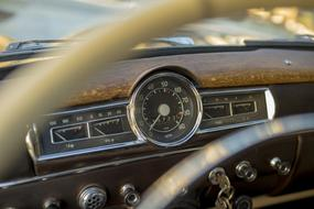 speedometer on Dashboard of vintage car with interior view