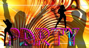 Party, bright and colorful background with human silhouettes