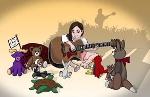 cartoon girl playing guitar to her toys