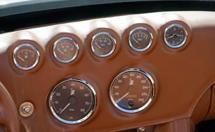 brown dashboard of car