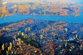 scenic aerial view of city at sea, turkey, Istanbul
