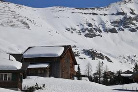 Wooden House Tops Snow
