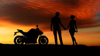 silhouettes of a couple in love and a motorcycle against the evening sky
