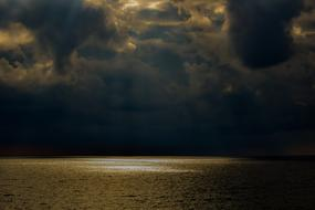 storm clouds over calm sea