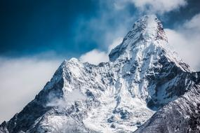 Ama Dablam, scenic peak of Himalaya Mountain at clouds