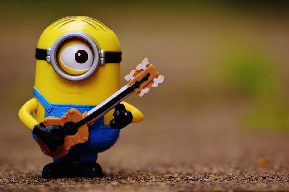 Minion with Guitar, close up of toy