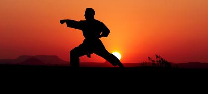 photo of karateka on a background of red sunset
