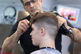 stylish male Haircut, Barber and client