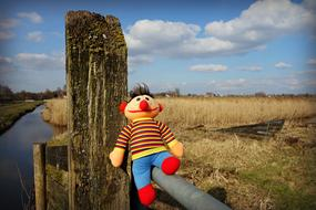 handmade Stuffed Toy on fence in countryside