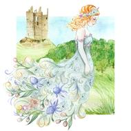 fantasy scene, princess in floral dress walking on meadow in view of castle, drawing