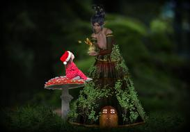 mystical image of a girl on a fly agaric and a forest fairy