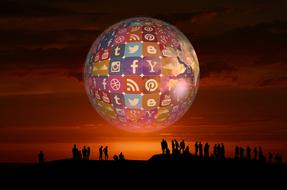 social media icon world and people