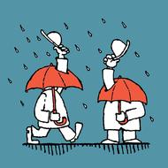 two gentlemen greeting through umbrellas on rainy weather