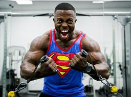 bodybuilder in a superman t-shirt in a fitness room