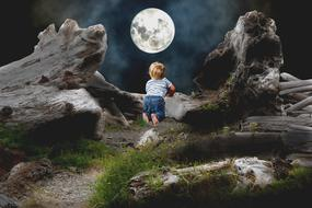 Child and white Moon