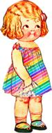 painted girl in a striped rainbow dress