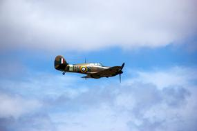 Hawker Hurricane, vintage British single-seat fighter aircraft at sky
