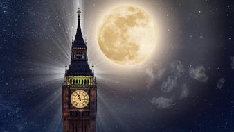Big Ben tower at Full Moon night, collage