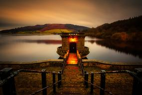 evening photo reservoir in England