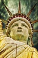 low angle view of Liberty Statue, detail, digital art
