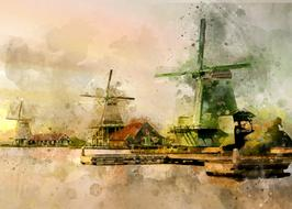 windmills in village at river, digital painting