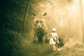 child girl and mythical creatures in forest, collage