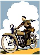 retro motorcycle road poster drawing